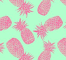 Pineapple Pattern - Mint & Crimson by Tracie Andrews