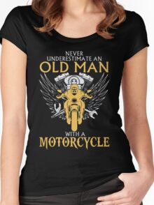 Never Underestimate an old Man with Motorcycle Women's Fitted Scoop T-Shirt