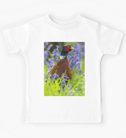 Wild Ring-necked Pheasant Portrait amongst Spring Bluebells Kids Tee