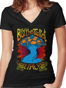 """Buy the ticket take the ride"" Hunter S. Thompson quote original drawing Women's Fitted V-Neck T-Shirt"