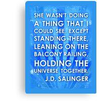 J.D. Salinger Quote - Saphire Canvas Print