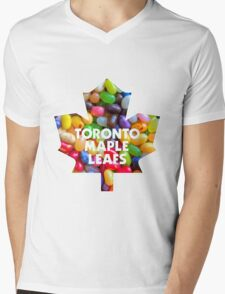 Toronto Maple Leafs Logo with Jelly Bellies Mens V-Neck T-Shirt
