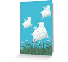 Flying Sheep Meadow Larks Greeting Card