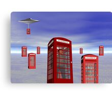 Alien London Phone Box Abduction Canvas Print