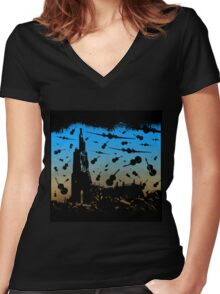 Psycho Attack Women's Fitted V-Neck T-Shirt