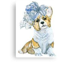 Corgi in a hat Canvas Print