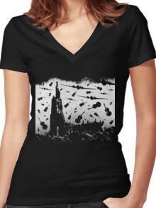 Psycho Attack - White Print Women's Fitted V-Neck T-Shirt
