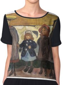 Edvard Munch - Four Girls. Expressionism Chiffon Top