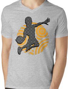 Basketball Player Geometric Hoops Pattern Mens V-Neck T-Shirt