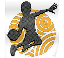 Basketball Player Geometric Hoops Pattern Poster