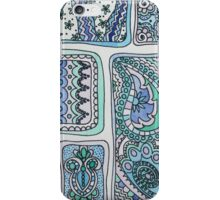 Paisley Blocks Blue iPhone Case/Skin