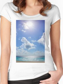 Sunny Beach Sky Women's Fitted Scoop T-Shirt