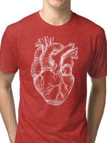 Hearts Anatomical White on Grey Tri-blend T-Shirt