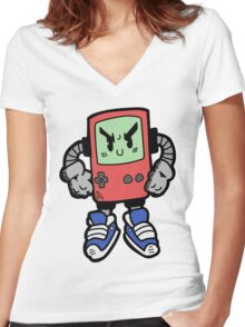 Game Punk - RED Version Women's Fitted V-Neck T-Shirt