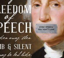 Free Speech Dumb Silent Slaughter George Washington Sticker