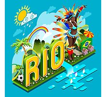 Brasil Rio Summer Infographic Isometric 3D Photographic Print