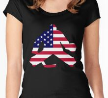 American Flag Goalie Women's Fitted Scoop T-Shirt
