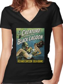 Creature From The Black Lagoon Women's Fitted V-Neck T-Shirt