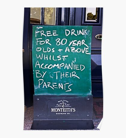 Free Drinks at the Pub Poster