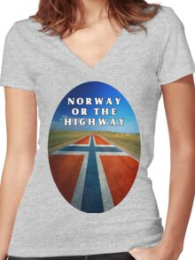 Norway or the Highway Women's Fitted V-Neck T-Shirt