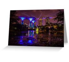 Gardens by the bay alight, Singapore Greeting Card