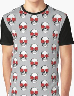 Skull & Roses   Grey & Red Graphic T-Shirt