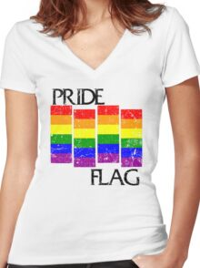 Pride Flag Women's Fitted V-Neck T-Shirt