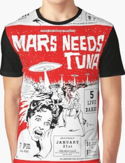 Mars Needs Tuna PUNK FLYER Retro Graphic T-Shirt