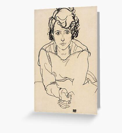 Egon Schiele - Seated Woman. Schiele - woman portrait. Greeting Card