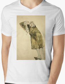 Egon Schiele - Sleeping Girl. Schiele - girl portrait. Mens V-Neck T-Shirt