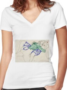 Egon Schiele - Two Friends, Reclining (Tenderness). Schiele - lovers. Women's Fitted V-Neck T-Shirt