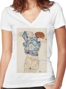 Egon Schiele - Woman Undressing. Schiele - woman portrait. Women's Fitted V-Neck T-Shirt