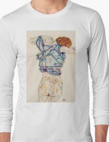 Egon Schiele - Woman Undressing. Schiele - woman portrait. Long Sleeve T-Shirt