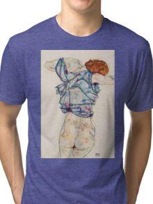 Egon Schiele - Woman Undressing. Schiele - woman portrait. Tri-blend T-Shirt