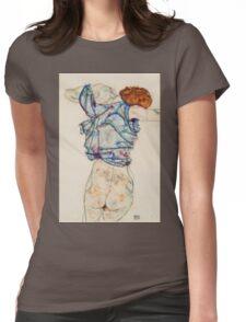 Egon Schiele - Woman Undressing. Schiele - woman portrait. Womens Fitted T-Shirt