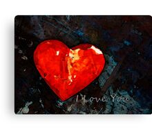 I Just Love You - Red Heart Romantic Art Canvas Print