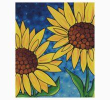 Yellow Sunflowers One Piece - Short Sleeve