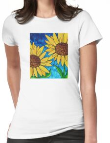 Yellow Sunflowers Womens Fitted T-Shirt