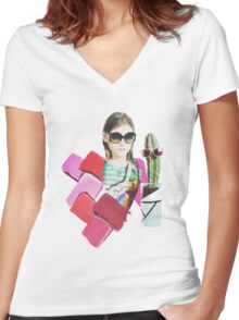 collage design  Women's Fitted V-Neck T-Shirt
