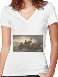Emanuel Gottlieb Leutze - Washington Crossing The Delaware 1851. Gottlieb Leutze - man portrait. Women's Fitted V-Neck T-Shirt