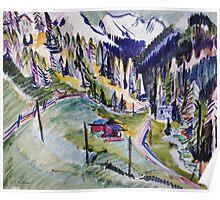Ernst Ludwig Kirchner - Mountain Landscape.  Kirchner - mountains landscape. Poster
