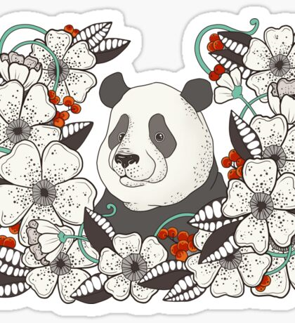 Panda with flowers and berries Sticker