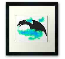 Dragon Silhouette (green/blue version) Framed Print