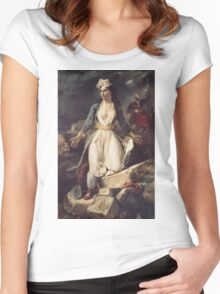 Eugene Delacroix  - Greece Expiring On The Ruins Of Missolonghi.  Delacroix  - woman portrait. Women's Fitted Scoop T-Shirt