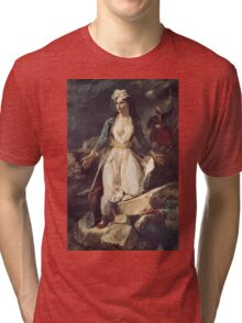 Eugene Delacroix  - Greece Expiring On The Ruins Of Missolonghi.  Delacroix  - woman portrait. Tri-blend T-Shirt