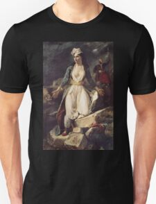 Eugene Delacroix  - Greece Expiring On The Ruins Of Missolonghi.  Delacroix  - woman portrait. Unisex T-Shirt