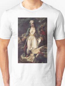 Eugene Delacroix  - Greece Expiring On The Ruins Of Missolonghi.  Delacroix  - woman portrait. Unisex T-Shirt