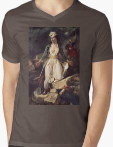 Eugene Delacroix  - Greece Expiring On The Ruins Of Missolonghi.  Delacroix  - woman portrait. Mens V-Neck T-Shirt