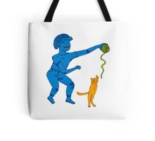 Playing with my cat Tote Bag