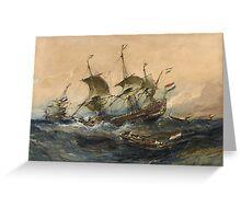 Eugene Isabeyr - Dutch Ships In A Storm 1839.  Isabeyr - sea landscape. Greeting Card